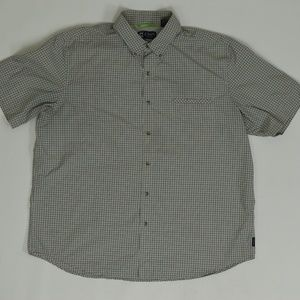 Chaps Big & Tall XXL Green   Button Down Polyester